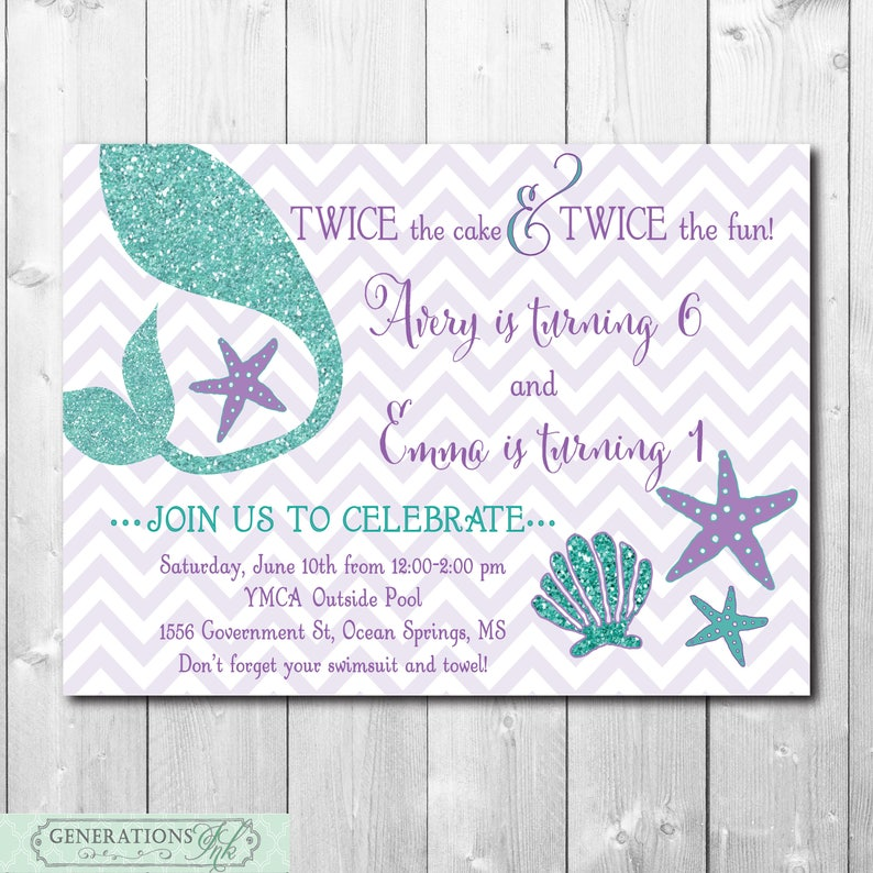 Mermaid Birthday Invitation Digital Printable Under The Sea Joint Party Teal And Purple Glitter Tail Wording Can Be Changed