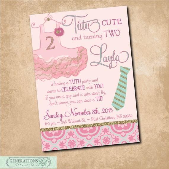 Tutus and ties birthday invitation printabletutu excited etsy image 0 filmwisefo