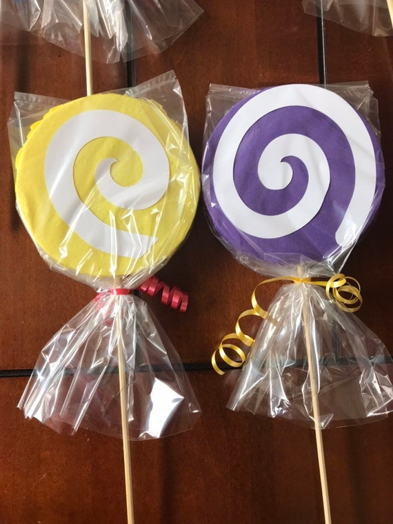 Set of 7 Sticks Birthday Party Decorations . Lollipops Sticks Double Sided Excellent for Complement your Centerpieces