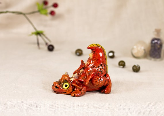 Cute Red Dragon OOAK Apoxie Sculpture with glass eyes Hand painted figurine Spooky Halloween