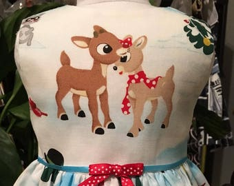 Rudolph Christmas dress fits 18 inch dolls including American Girl Doll