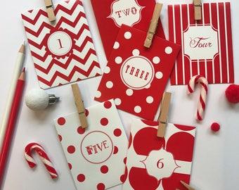 24 Day Advent Calendar - Christmas Countdown - Paper Envelope  (Candy Cane Design)