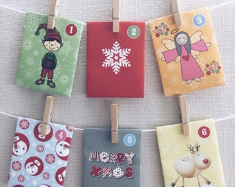 24 Day Advent Calendar - Christmas Countdown - Paper Envelope  (Cheeky Elves Design)