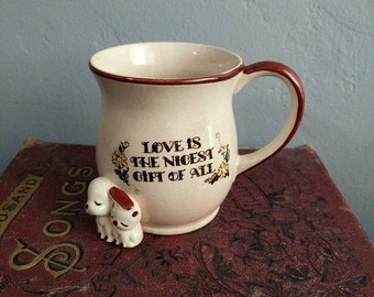 "Vintage Souvenir ""Love is the Nicest Gift of All"" Dogs Puppies Brown and Yellow Floral Mug"