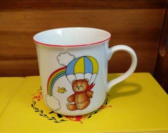 Vintage Tajimi Japan Rainbow Teddy Bear Bird Clouds Parachute Kid Child Mug