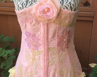 16ed4ff9f8e Pink flowers- Corset Handcraft Upcycled Sz 32