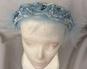 Headband Blue Ice  handmade Beadwork