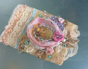 Cutie- Cuff Victorian Shabby Chic Altered Couture Handcraft Glass Cabochon