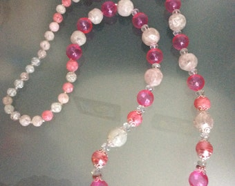 Pink bubbles Long  Necklace Vintage Beads Handmade