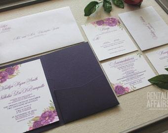Watercolor Flower Pocket Fold Wedding Invitation