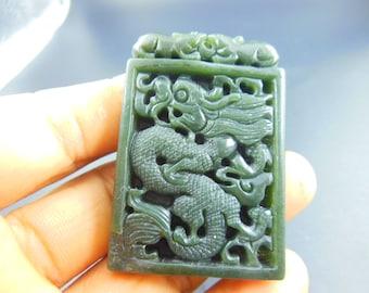 Natural AAA  green  jadeite jade dragon good luck pendants necklace