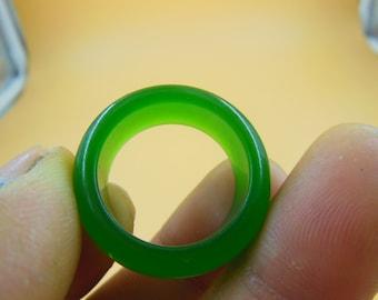 Natural green jadeite jade ring ring size US10