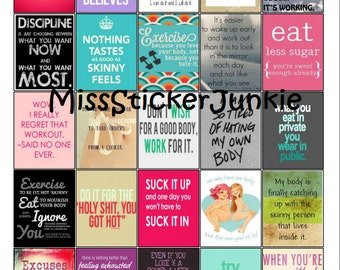 Fitness Skinny Quotes Skinny Workout Exercise Lose Weight Motivational Quotes for Stickers for Erin Condren Life Planner *Digital Download*