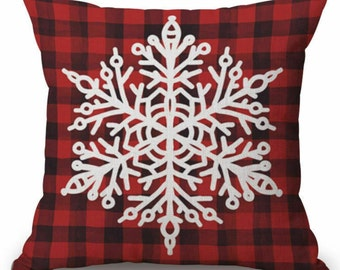 Mother/'s Day Gift Decorative Pillow Red Burlap Pillows Red Throw Pillow Silver Sequin Pillows Snow Flake Pillow