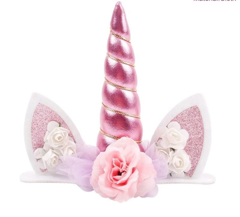 Unicorn Cake Topper  Pink Unicorn Birthday Decorations image 0