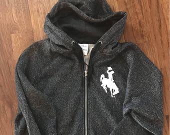 Bucking Horse (Steamboat) logo on Glitter Zip Up Hoodie