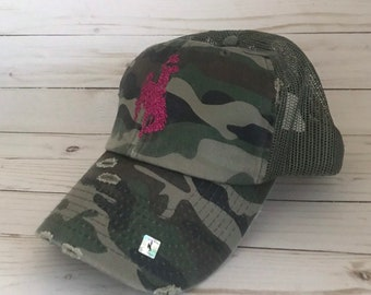 c0218612c55428 Camo Distressed Steamboat Hat / Adjustable / mesh back / Glitter Steamboat  Hat / Wyoming