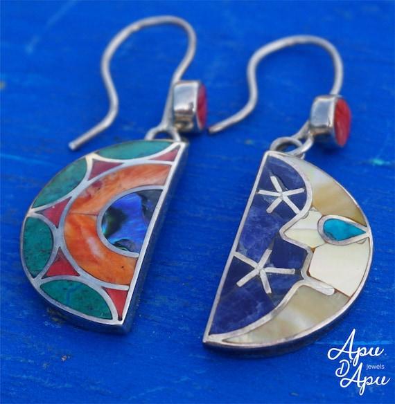 sun moon earrings mismatched   inca wedding earrings   celestial dangles  silver stones   Pleiadian starseed jewelry   esoteric earrings Peru