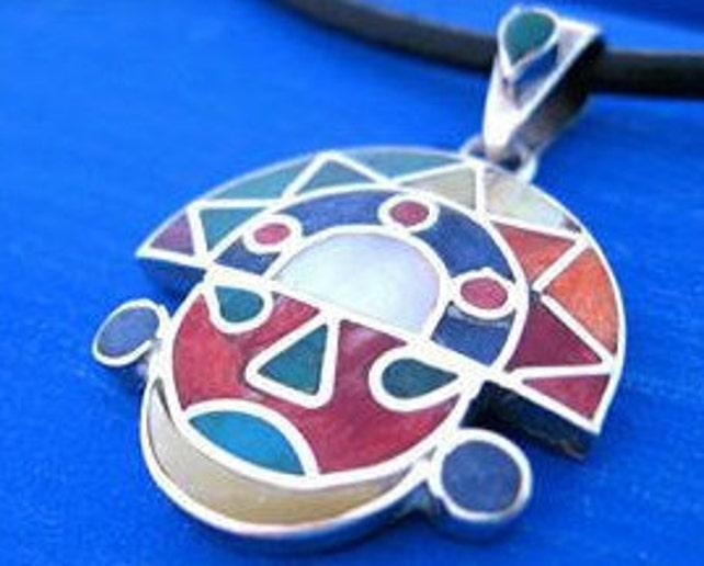 Tumi Face Pendant Silver With Stones Inca Pendant Necklace Etsy