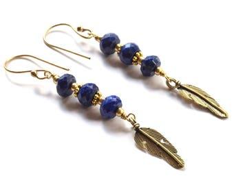 Leaf Earrings with Lapis Lazuli, Brass Earrings, Small Earrings, Dangle and Drop,  Ethnic Earrings, Blue, Beaded Earrings, Gemstone Jewelry