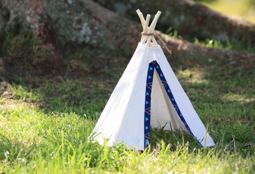 Mini teepee tent: nursery decoration, shelf decoration, child's bedroom  decor (blue doorway)