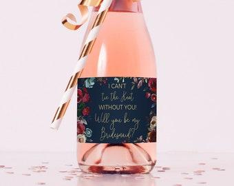 bridesmaid proposal, mini champagne labels bridesmaid, will you be my bridesmaid wine, mini champagne bottle labels, bridesmaid wine labels