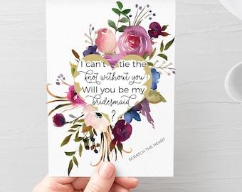 Bridesmaid proposal card, be my bridesmaid card,maid of honour scratch card, Bridesmaid scratch card, bridesmaid gift box