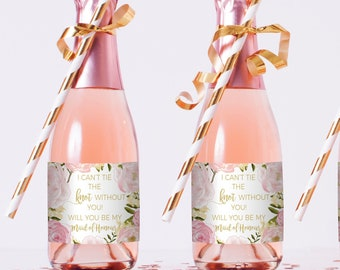 will you be my bridesmaid sticker asking bridesmaids mini wine bottle label bridesmaid bridesmaid proposal wine label mini wine bottle label