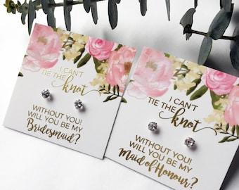 Bridesmaid proposal earrings bridesmaid proposal foil Bridesmaid proposal box gift Tie the Knot Earrings, Be My Bridesmaid, bridesmaid studs