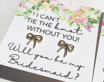 Bridesmaid proposal earrings Bridesmaid proposal card Bridesmaid proposal gift bridesmaid gif Tie the Knot Earrings knot earrings bridesmaid