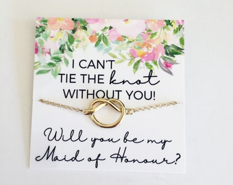 bridesmaid gifts will you be my bridesmaid necklace bridesmaid proposal necklace tie the knot necklace bridesmaid proposal gift knot necklac