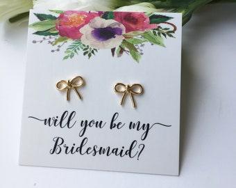 Bridesmaid proposal gift bridesmaid proposal earrings, asking bridesmaid gift, proposal box gifts, will you be my bridesmaid gift, rose gold