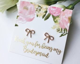 bridesmaid thank you gifts bridesmaid earrings gift rose gold bridemaid earrings Gift for bridesmaids thank you for being my bridesmaid gift