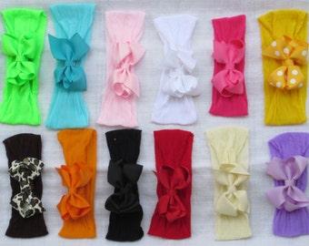 One set - 1 Bow Clip + 1 Loop Soft Stretchy Pantyhose Headband Hair Baby  Toddler girls 0-5yr Polka Dot Animal Print Holiday Portrait ca9f03132f9