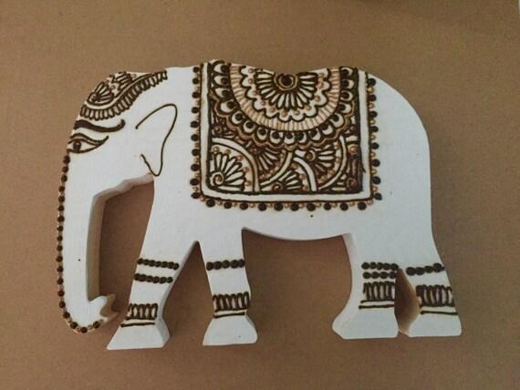 Wooden Elephant Wood Henna Elephant Mehndi Gold Elephant Etsy