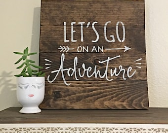 Lets Go on an Adventure Wood Signs for Home Decor with Quote Modern Farmhouse Wood Gallery Wall Decor Rustic Wedding Gift Boho Art