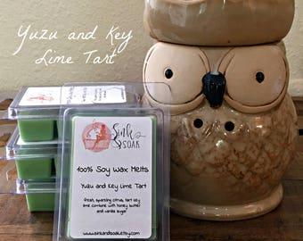 Soy Wax Melts-Stocker Stuffer Ideas - Citrus Wax Melts - Yuzu and Key Lime - Wax Warmers - Wax Tarts - Clamshell Wax Tarts - Scented Wax