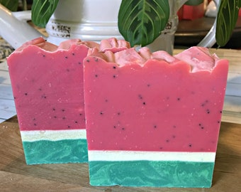Watermelon Soap - Homemade Soap - Self Care - Stocking Stuffer- Artisan Soap - Cocoa Butter Soap - Handcrafted Soap Bar - Watermelon Gift