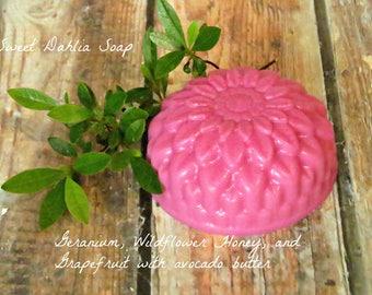 Floral Soap - Shaped Soap - Essential Oil Soap - Guest Soap - Soap - Homemade Soap - Natural Soap Bars - Dahlia Soap - Geranium Scented