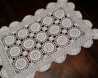 An adorable white vintage hand croquet table lace doilie.