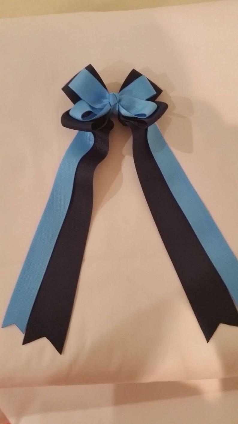 hair bow ribbon school sport clip elastic navy blue russet orange double classic