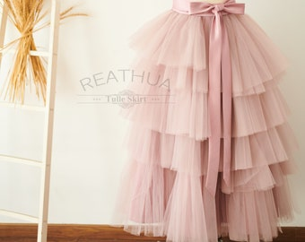 18f0d19cc Mauve Midi Length Layered Cupcake Tulle Skirt/Tea Length TUTU Wedding  Bridesmaid Party Skirt Costume Short Skirt