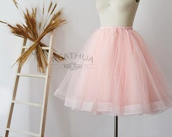 784ce0ecc Blush Pink Horsehair Tulle Skirt/Short Women Skirt/TUTU Tulle Skirt/Wedding  Bridal Bridesmaid Skirt/Knee Length Bachelorette party Skirt