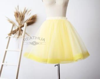 a6d6b67d8 Yellow Horsehair Tulle Skirt/Short Women Skirt/TUTU Tulle Skirt/Wedding  Bridal Bridesmaid Skirt/Knee Length Bachelorette party Skirt