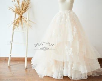 Champagne Lace Tulle Full Floor Length Wedding Dress Skirt/Adult Women Long Tulle Skirt with Horsehair Hem Bridal Skirt
