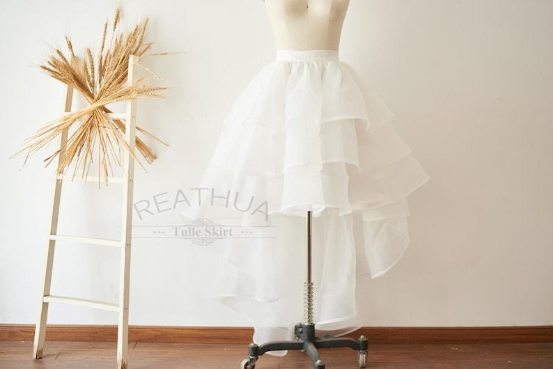5070b3aab6 Ivory Horsehair Women Organza Skirt Hi Low Asymmetrical Bridal