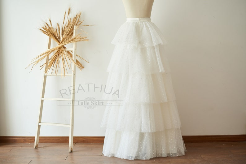 Ivory Polka Dots Skirt Full Floor Length Cupcake Tiered Wedding Tulle SkirtBridesmaid Skirt