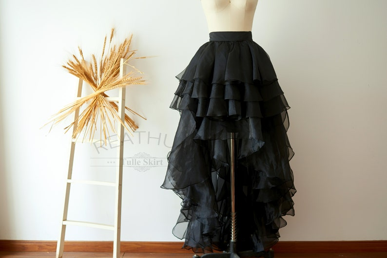 11bd2c5aa3 Black Organza Uneven Women Skirt Hi Low Asymmetrical TUTU