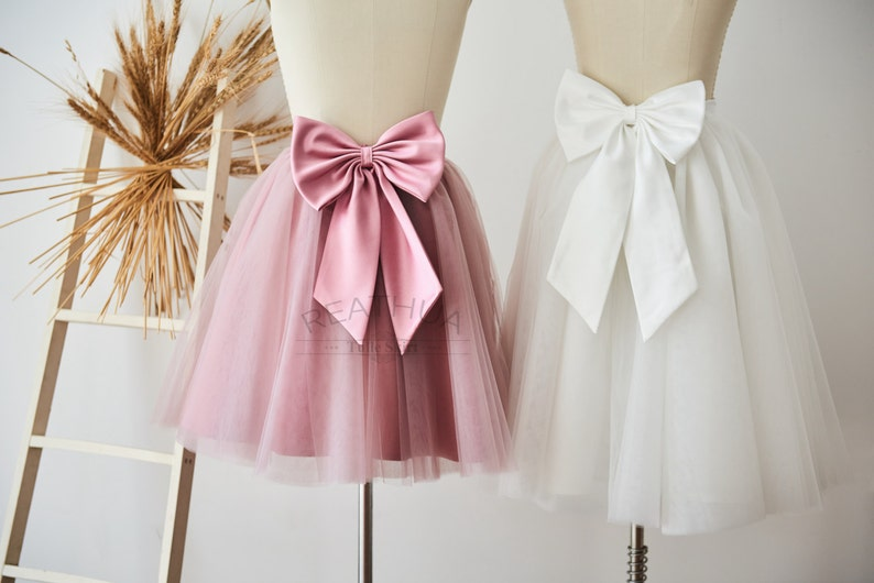 f81d6f5e Ivory/fioletowe krótkie kobiety Tiul spódnica//Tutu Tiulowa spódnica/ślub  druhna spódnica z Big Satin Bow