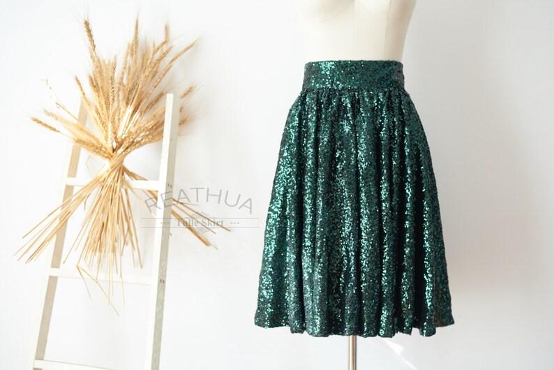 6f8f6808d3 Lentejuelas verde falda Midi té longitud corto mujeres